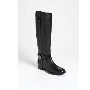 Tory Burch Elina Black Riding Boots